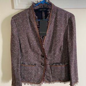NWT/Escada tweed linen blended jacket brown/Maroon